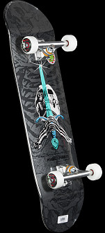 Powell Peralta Rodriguez Skull and Sword Now Complete Assembly Silver - 8.75 x 33.25
