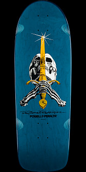 Powell Peralta Ray Rodriguez OG Skull and Sword Skateboard Deck Blue - 10 x 30