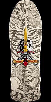 Powell Peralta Skull and Sword GeeGah Skateboard Deck White - 9.75 x 30