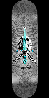 "Powell Peralta Ray Rodriguez Skull & Sword ""NOW"" Skateboard Deck Silver - Shape 180 - 8.75 x 33.25"