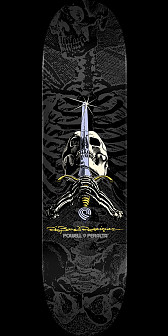 Powell Peralta Rodriguez Skull and Sword Skateboard Deck Grey/Black - Shape 245 - 8.75 x 32.95