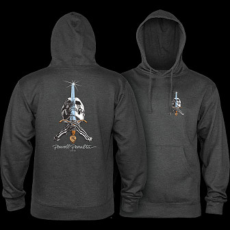 Powell Peralta Skull & Sword Hooded Sweatshirt Charcoal