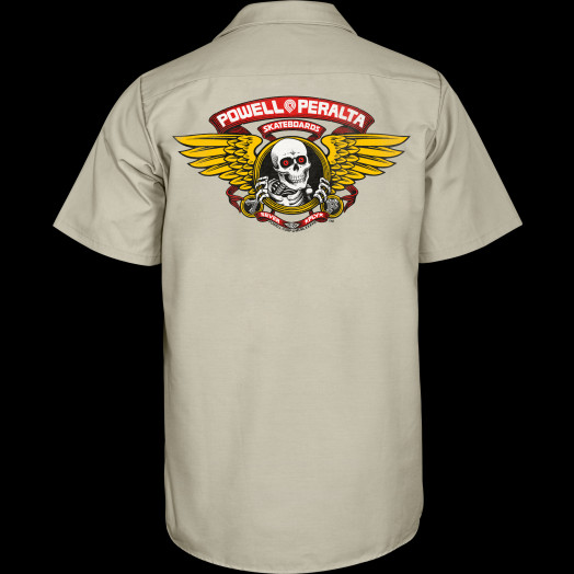 Powell Peralta Winged Ripper Work Shirt - Khaki