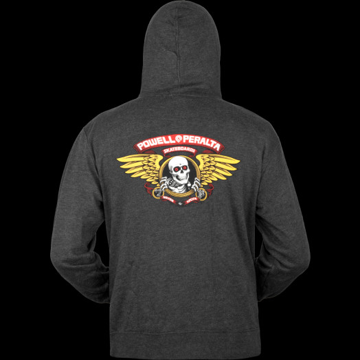 Powell Peralta Winged Ripper Hooded Zip-Charcoal