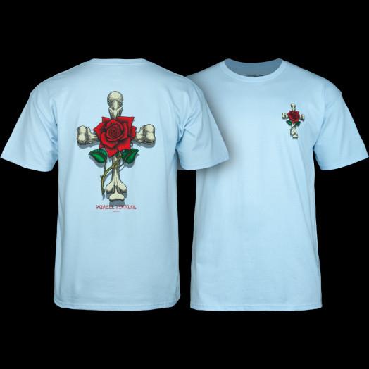 Powell Peralta T-shirt Rose Cross Blue