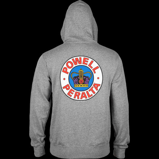 Powell Peralta Hooded Zip Sweatshirt Supreme Logo Gray