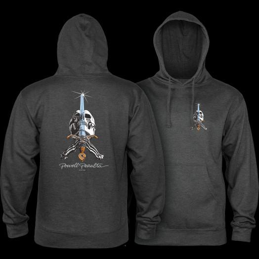 Powell Peralta Skull & Sword Hooded Sweatshirt Charcoal