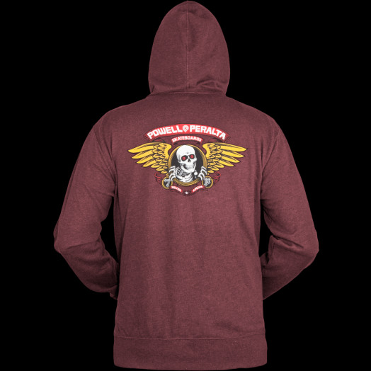 Powell Peralta Winged Ripper Hooded Zip - Burgundy
