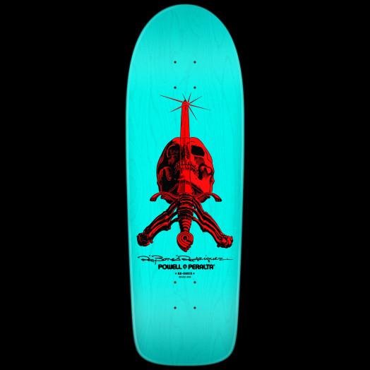 Powell Peralta Rodriguez Skull & Sword Skateboard Deck Light Blue - 10 x 30