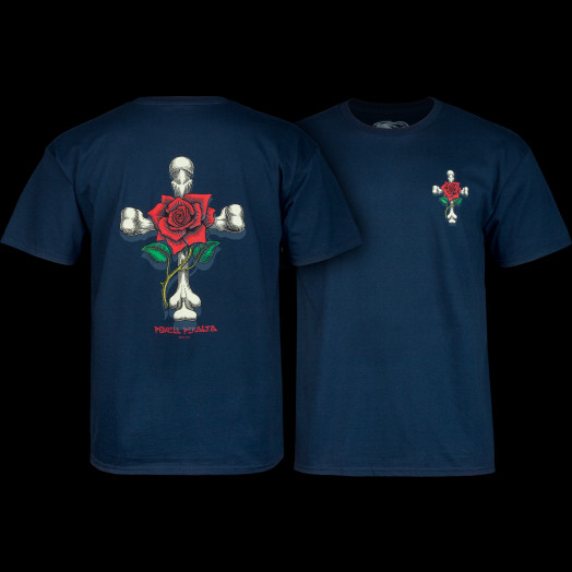 Powell Peralta T-shirt Rose Cross Navy