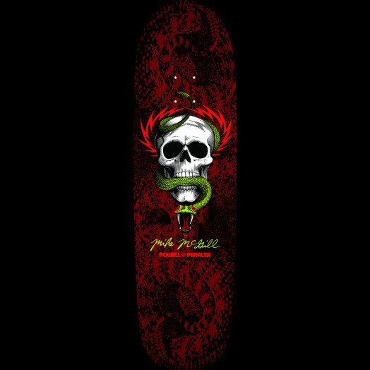 Powell Peralta McGill Snake Skin Fun Shape 2 Skateboard Deck Black/Red - 8.97 x 32.38