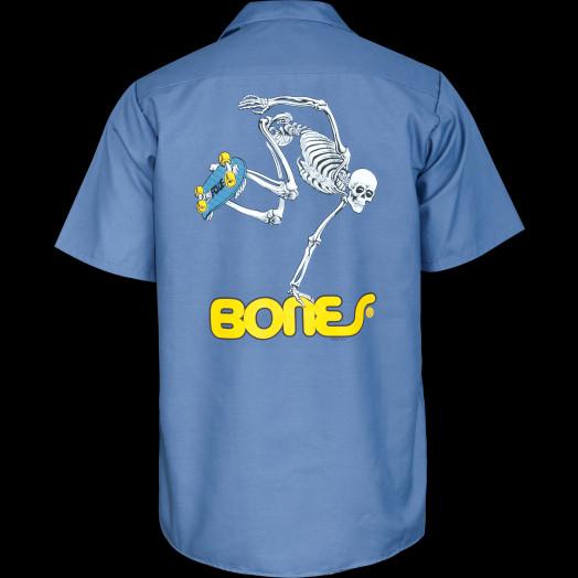 Powell Peralta Skateboarding Skeleton Work Shirt - Blue
