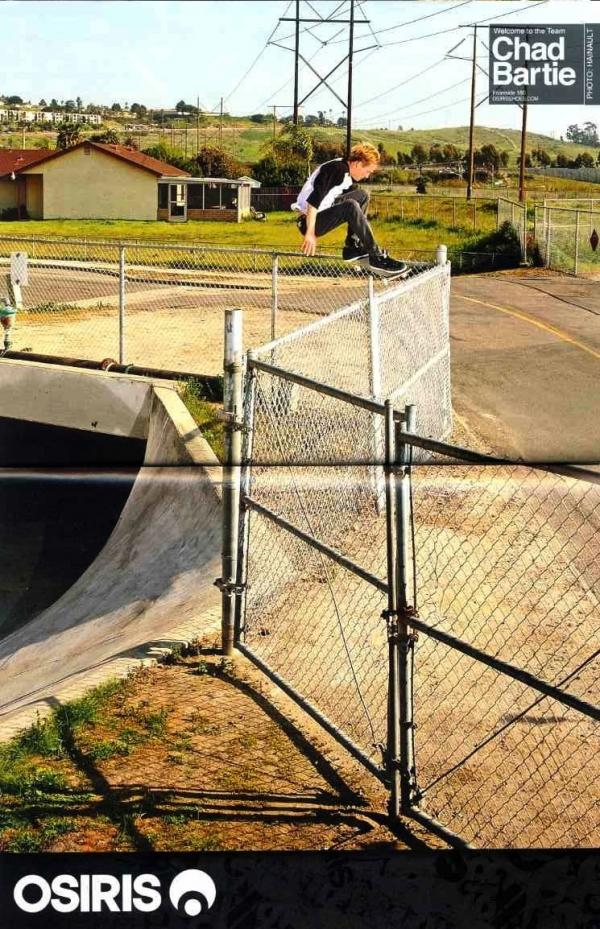 Chad Bartie Osiris ad, one big fence ollie