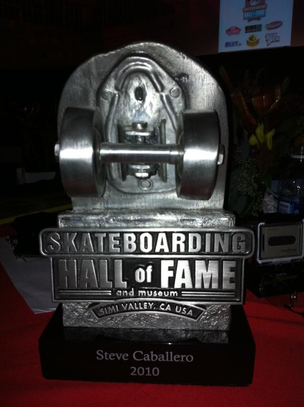 Steve Caballero recieved his 'heavy' award from the Skateboarding Hall of Fame