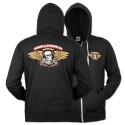 Winged Ripper Zip Hoody, Black