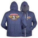 Winged Ripper Zip Hoody, Blue