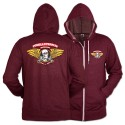 Winged Ripper Zip Hoody, Burgundy