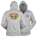 Winged Ripper Zip Hoody, Gray