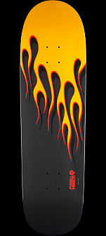 Powell Peralta Hot Rod Flames Skateboard Deck Yellow - 9.375 x 33.875