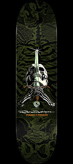 Powell Peralta Rodriguez Skull and Sword Skateboard Deck Green - Shape 246 - 9 x 32.95
