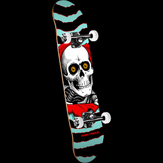 Powell Peralta Ripper One Off 7.5 X 28.65 Skateboard Turq/Red Assembly - 7.5 x 28.65