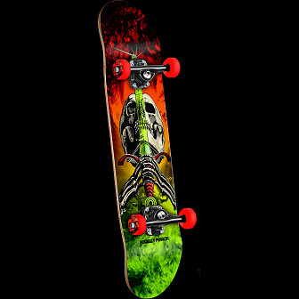 Powell Peralta Skull and Sword Storm Complete Skateboard Red/Lime - 7.5 x 31.375