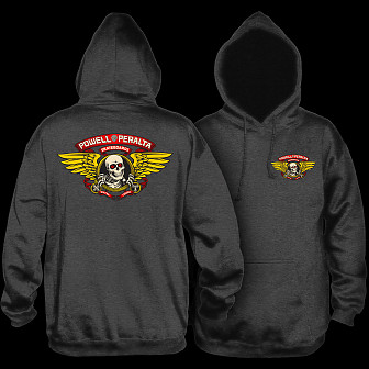 Powell Peralta Winged Ripper Hooded Sweatshirt Charcoal