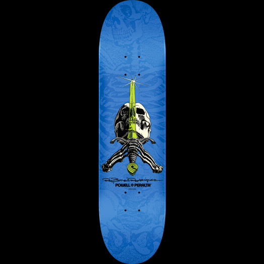 Powell Peralta Rodriguez Skull and Sword Skateboard Deck Blue - Shape 242 - 8 x 31.45