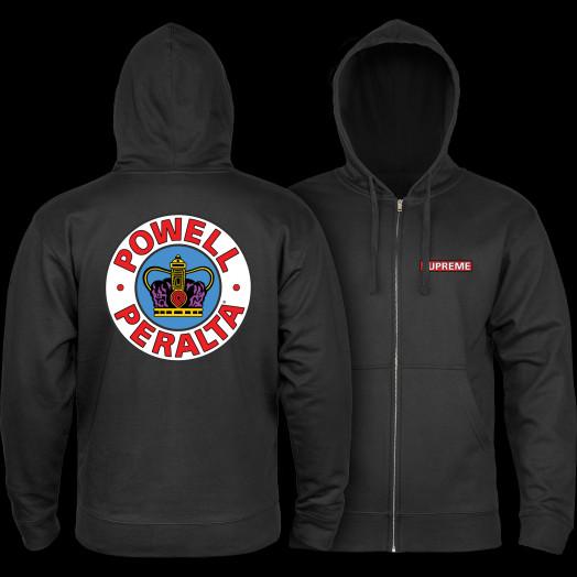 Powell Peralta Hooded Zip Sweatshirt Supreme Logo Black