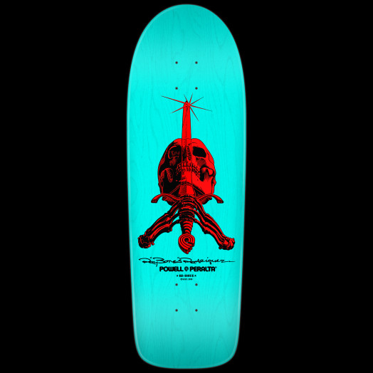 Powell Peralta Rodriguez Skull & Sword Skateboard Deck Light Blue - 10 x 30
